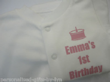 PERSONALISED 1st Birthday Babygrow - Sleepsuit